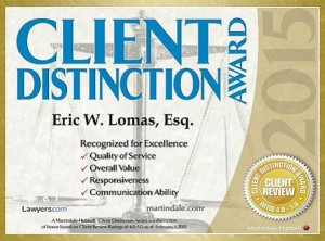 Wichita bankruptcy lawyer Eric W. Lomas received the Client Distinction Award in 2013, 2014 and 2015.